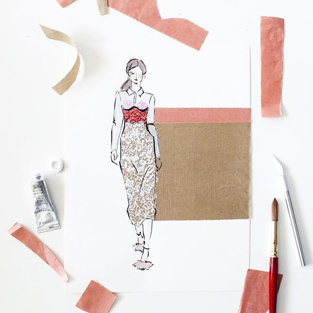 This lady is #ontheblog. My favorite Valentine's look by #marcodevincenzo from his #spring2016 line. :link: in bio. #fashionillustration #fashionblogger