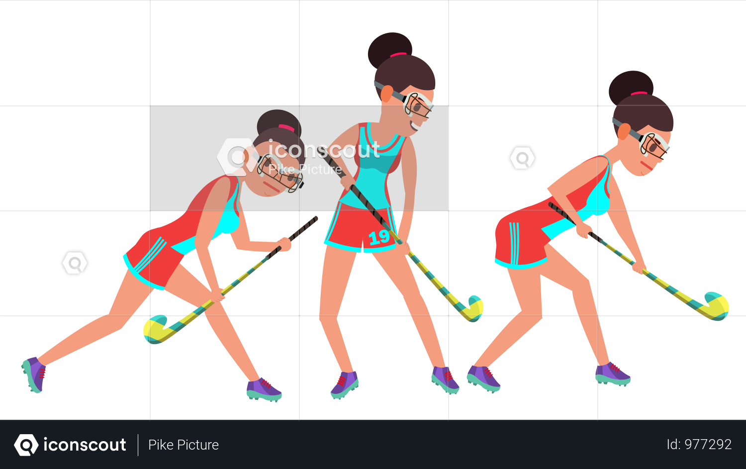 Field Hockey Female Player Vector Dribbling Ball In Action Poses Women S Grass Hockey Match Cartoon Field Hockey Field Hockey Girls Character Illustration