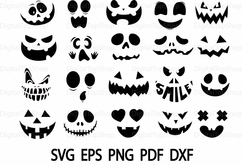 20 Kürbis Gesicht SVG, geschnitten EDateien, Vektoren
