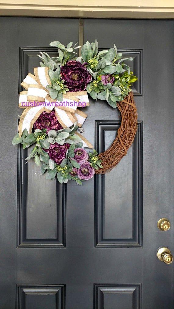 Photo of Spring Wreath for Front Door, Peony Wreath, Lamb's Ear Wreath, Farmhouse Wreath, Housewarming, Greenery Wreath, Year Round Wreath, Door Wreath