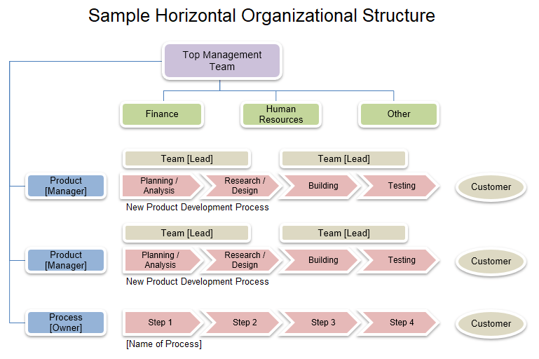 Download The Horizontal Organizational Structure Chart From Vertex42 Com In 2020 Organizational Chart Organizational Product Development Process