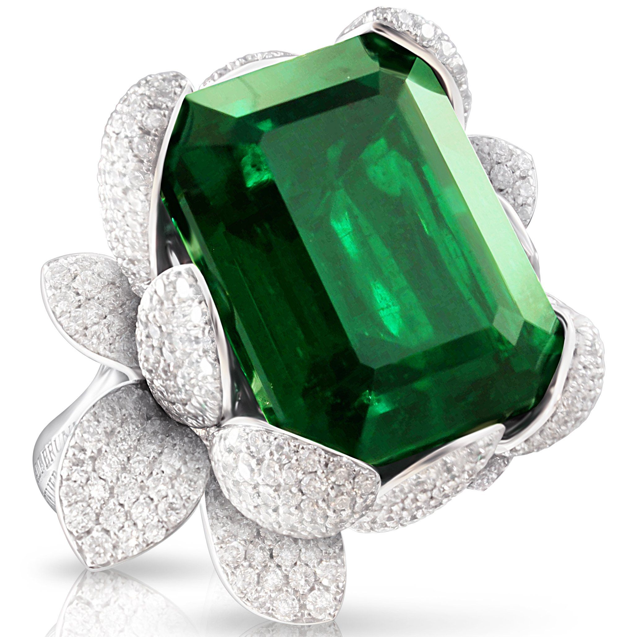 Pasquale Bruni emerald Secret Garden ring | 18k white gold with ...