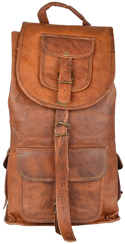 Genuine Goat Leather Hiking Backpack Rucksack Travel Luggage Bag Casual Daypack