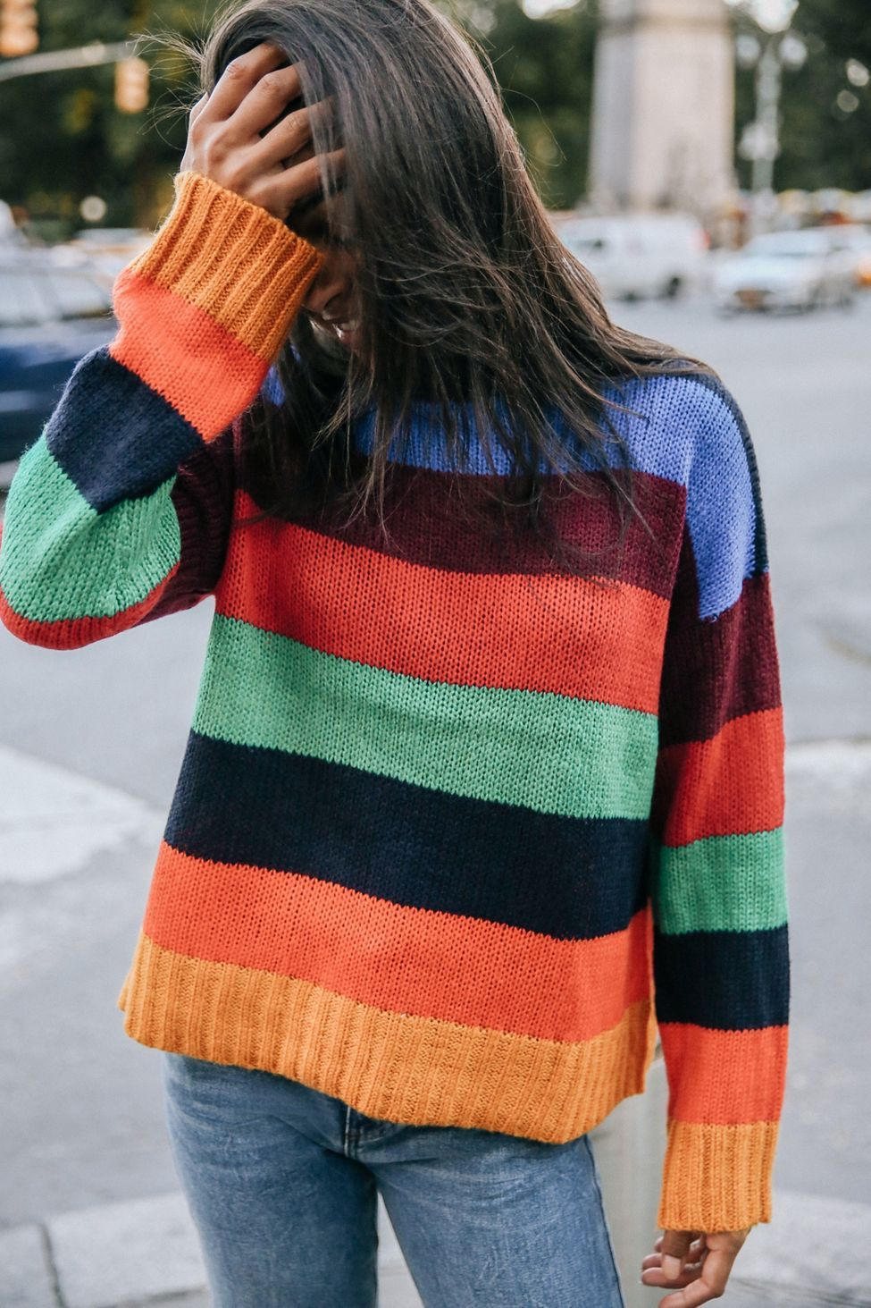 UO Bobby Boyfriend Striped Crew-Neck Sweater  4d0134efd4