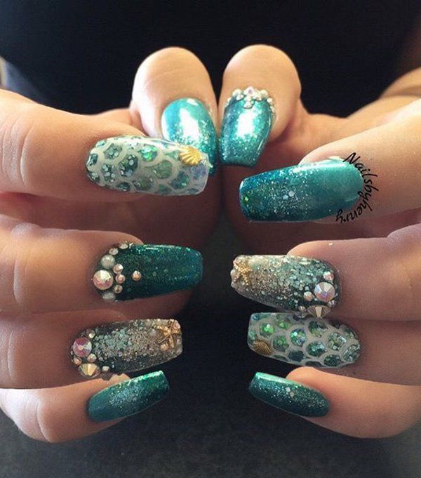 45 Ocean Nail Art Ideas - 45 Ocean Nail Art Ideas Manicure, Ocean Nail Art And Mermaid Nails