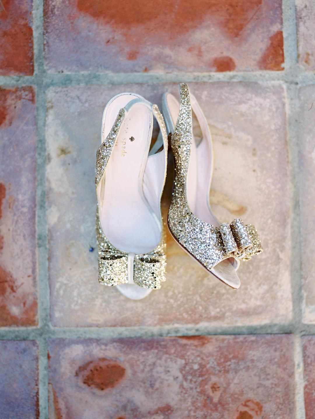 Kate Spade, gold glitter, bow, high heels // Krystle Akin
