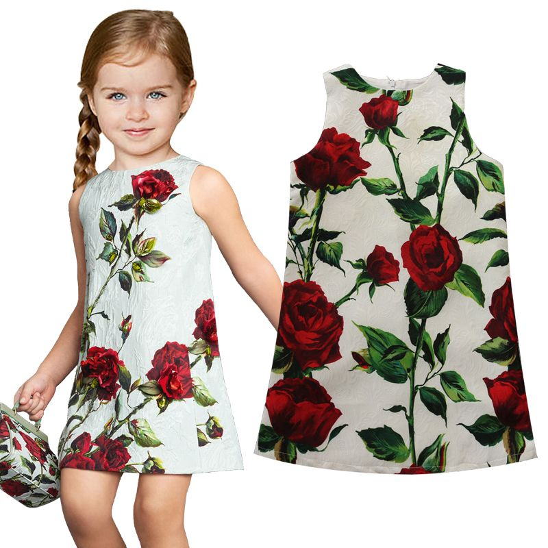 be7ecdf1fb53e Name brand girl dresses rose flower print summer dress top quality ...
