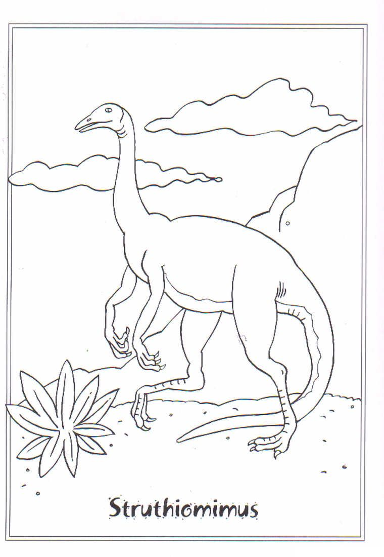 Coloring Page Dinosaurs 2 Struthiomimis Fargeleggingsark