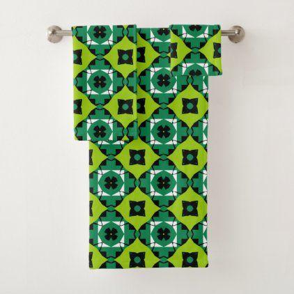 stylish lime green black & white geometric pattern bath