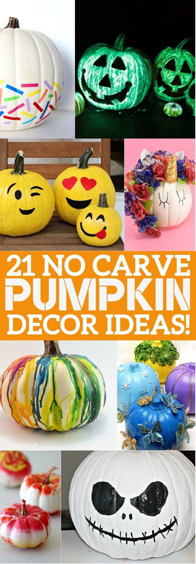 21 No Carve Pumpkin Decorating Ideas That You'll LOVE This Halloween! #pumpkinpaintingideas