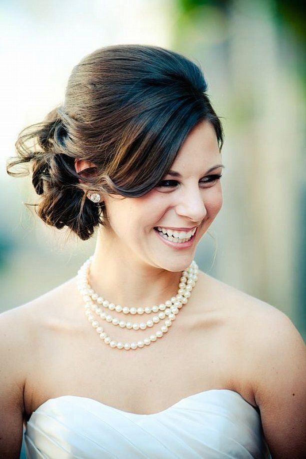 Wedding Updo Hairstyles With Messy Bun Also Side Bangs For Medium