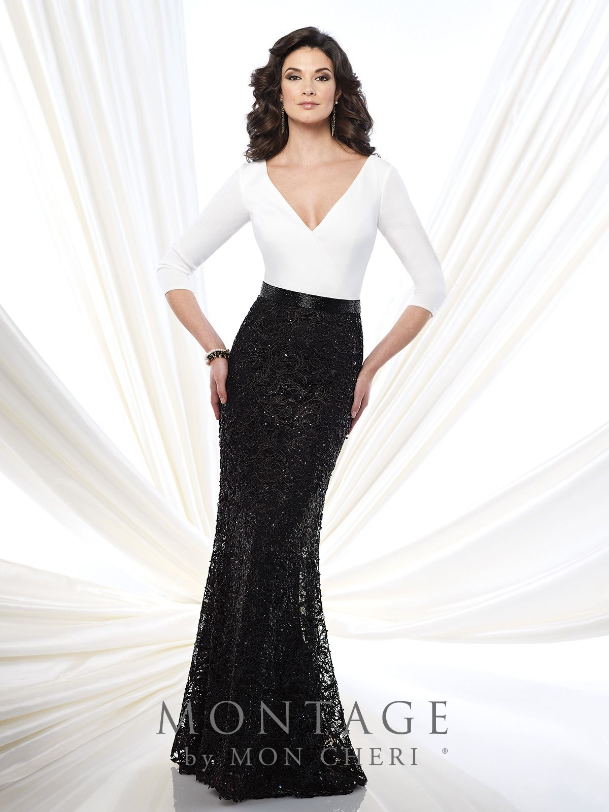 Threequarter sleeve jersey and lace fit and flare gown with deep v