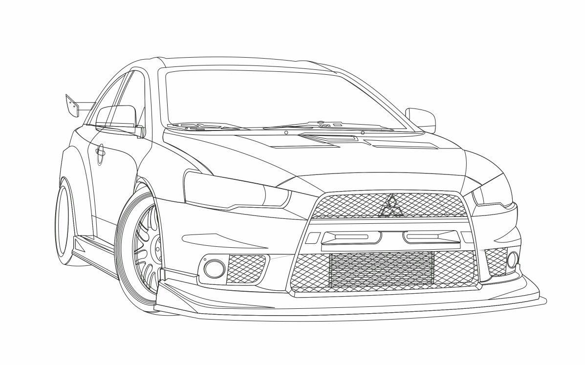Lancer Evo X Vector Sketch Mitsubishi Evolution Mitsubishi