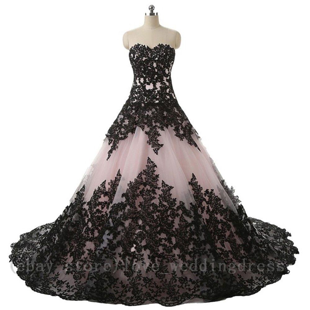 17499 Vintage Gothic Halloween Wedding Dress Elegant Black Appliques Bridal Ball Gowns �: Gothic Halloween Wedding Dress At Websimilar.org