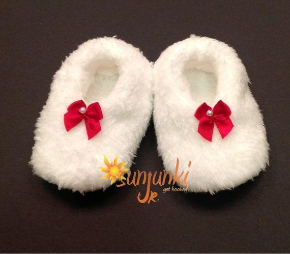Baby Girl Bootie Fleece Soft Minky Holiday Crib Shoe by Sunjunki, $19.00