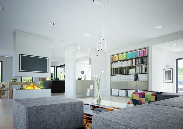 der raumteiler zum essbereich nimmt hightech kamin und fernseher auf moderne h user. Black Bedroom Furniture Sets. Home Design Ideas