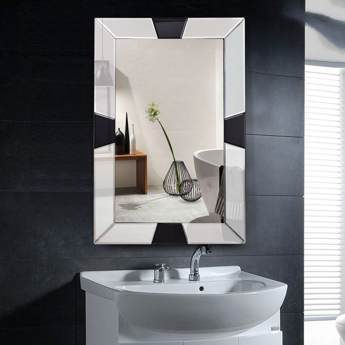Tangkula 23 5 X 31 5 Wall Mirror Beveled Wood Frame Mirror Rectangle Bathroom Home Mirror Click Image To R Bathroom Mirror Glass Bathroom Wood Framed Mirror [ 1200 x 1200 Pixel ]