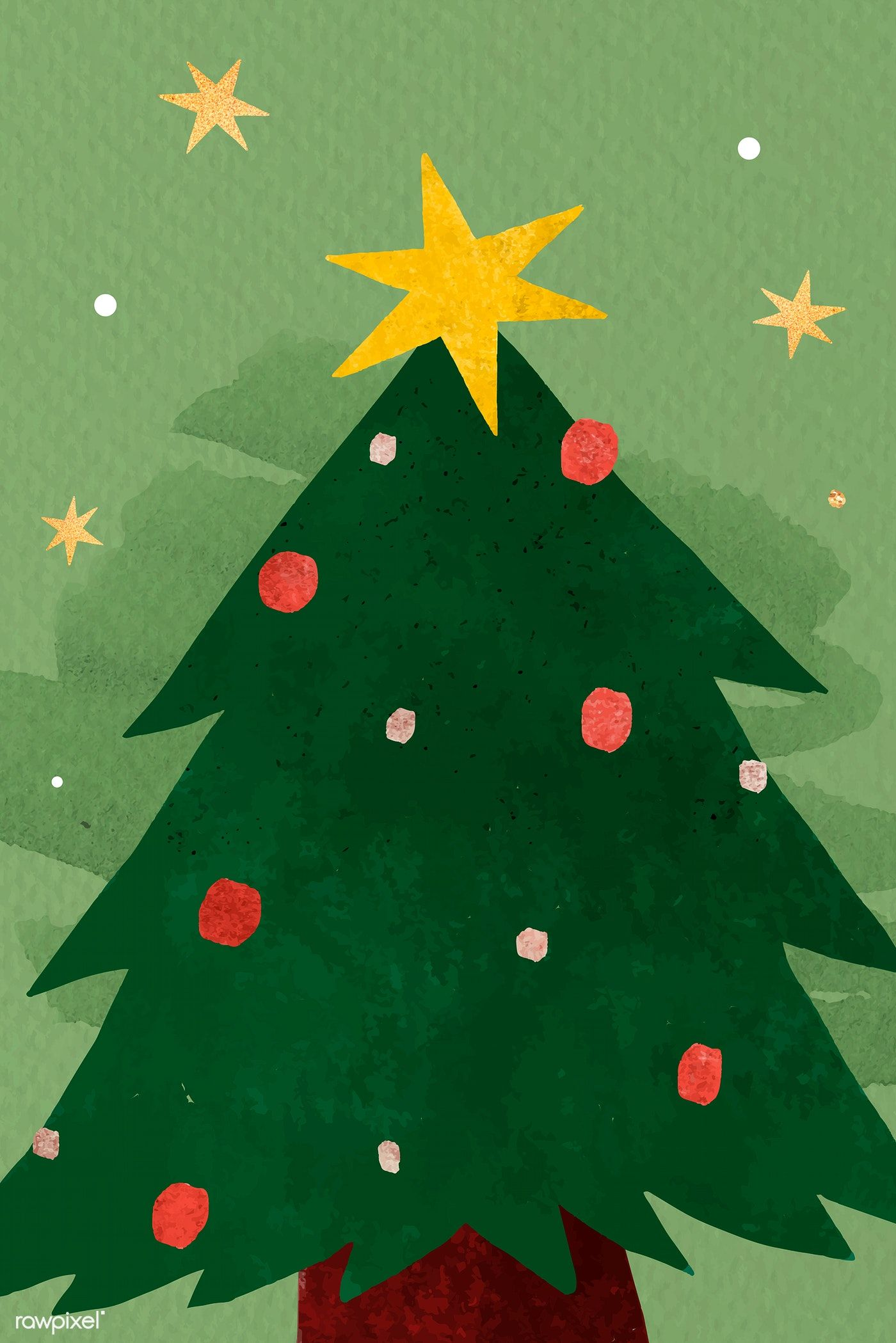 Download Premium Vector Of Christmas Tree Doodle Background Vector 1227353 Tree Doodle Doodle Background Cute Christmas Wallpaper
