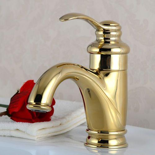 Polished Brass Bathroom Sink Faucet Basin Valve Tap Single Handle