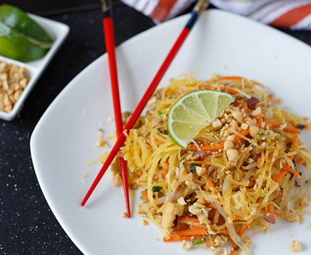 Spaghetti Squash Pad Thai | Healthy & Delcious Homemade Recipes Perfect For Brunch & Dinner, see more at http://homemaderecipes.com/healthy/11-vegetable-spiralizer-recipes