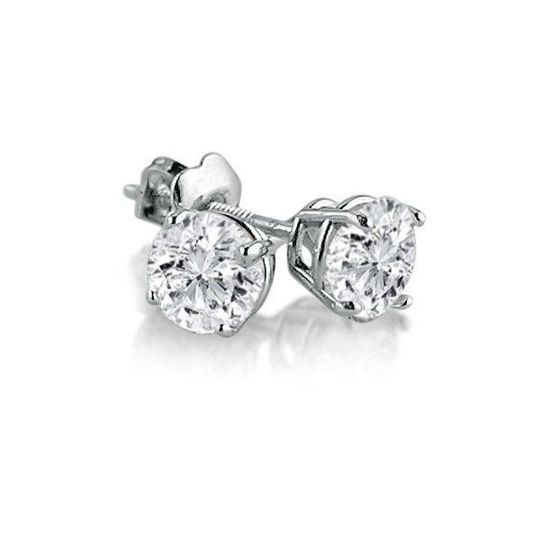 68ef96165 IGI Certified 14K White Gold Round Diamond Stud Earrings with... ($695) ❤  liked on Polyvore featuring jewelry, earrings, screw back diamond earrings,  screw ...