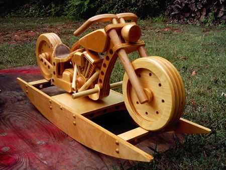 Motorcycle rocking horse plans It was such an interesting variation on the classic rocking horse idea that I had to discover how it was built It wasn t long before I had tweaked the idea into plans This is hog heaven for every rider who has kids Easy to follow pattern featuressimple tracing and assembly guides The wheels really spin the handle bars Oct 29 2011 This is the build of the motorbike rocking horse out of MDF and took about 2 months to complete Plans are from http www wood line de…