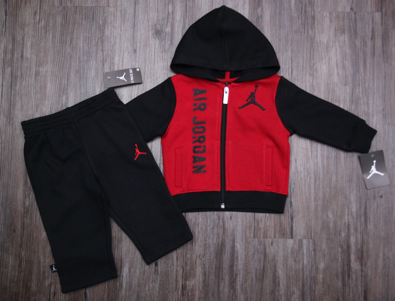 a08201ca90f38b Air Jordan Baby Boy 2 Piece Jogging Set ~ Tracksuit ~ Red   Black ~ Jumpman