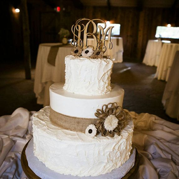 Wedding Cake Ideas For Country Wedding : Wedding Cake Topper, Rustic Wedding Decor, Couple Monogram ...