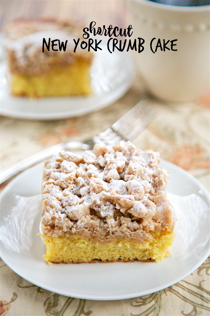 Shortcut New York Crumb Cake Yellow Mix Topped With An Easy Homemade Topping Sugar Brown Cinnamon Er And