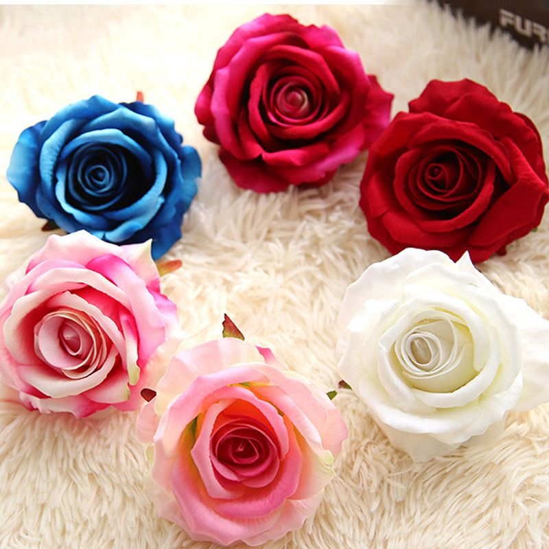 5pcs lot diy silk artificial rose flower head wedding home silk artificial rose bud flowers head for wedding decoration diy wreath gift box scrapbooking craft fake flowers mightylinksfo