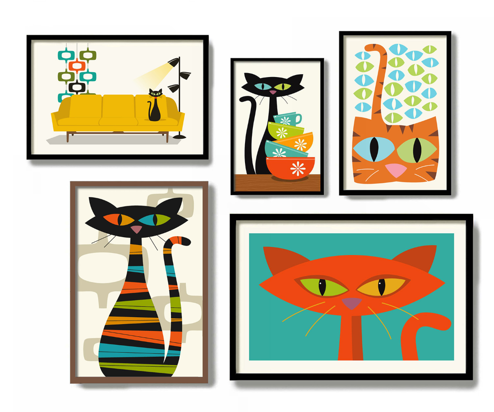 Mid century Modern Cat Art from DexMex • hauspanther   Modern cat ...