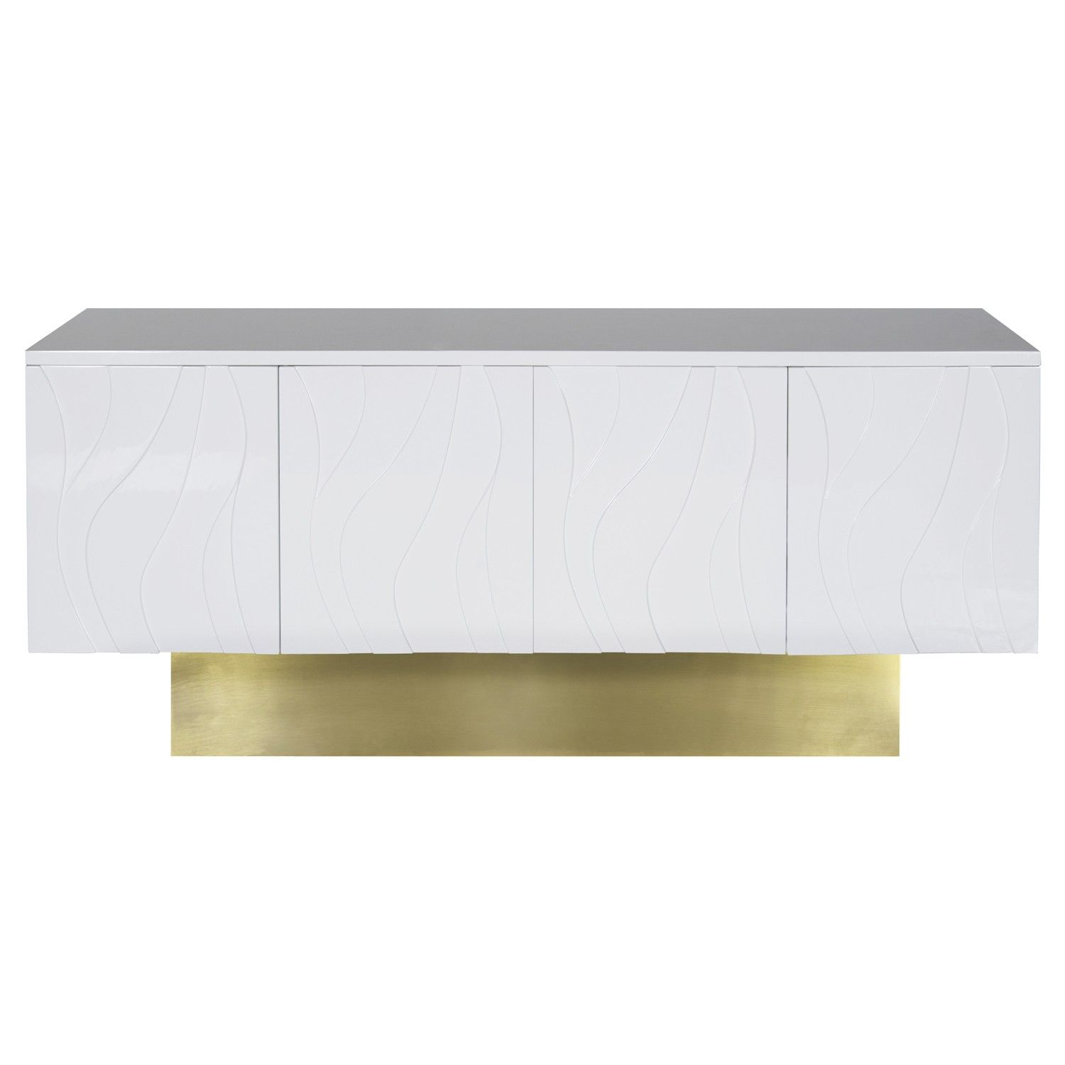Valerie Wh White Lacquer Wave Detail Console With Brushed Br Base Adjule Interior Shelf Push Latch Opening