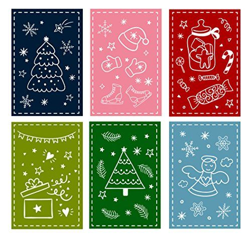 36Pack Christmas Greeting Cards Bulk Box Set Assorted Winter Holiday Xmas In 6 Doodle Designs Envelopes Included 4 X Inches Be Sure To