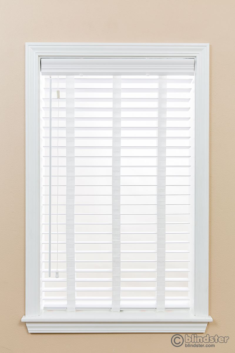 2 Premium Faux Wood Blinds With Cloth Tapes And Wand Control Wood Blinds Premium Faux Wood Blinds Faux Wood Blinds