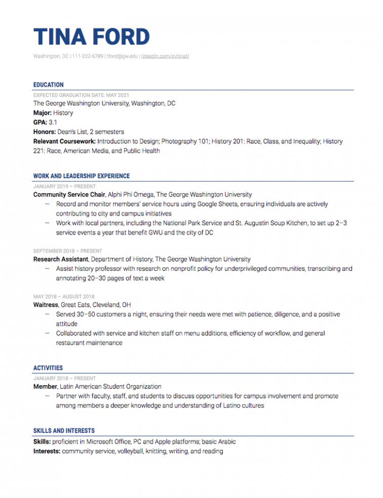 12 Pattern Resume For Internship