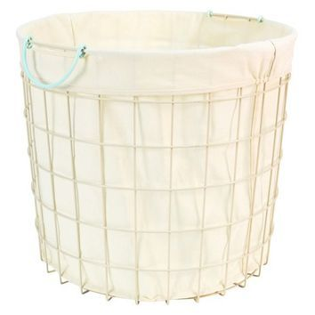 Circo Round Wire Basket With Liner   Bleached Aqua (Large): PERFECT Height  For Coffee Table Base: 18 Other Measurements. Would It Be Too Tippy, Though?