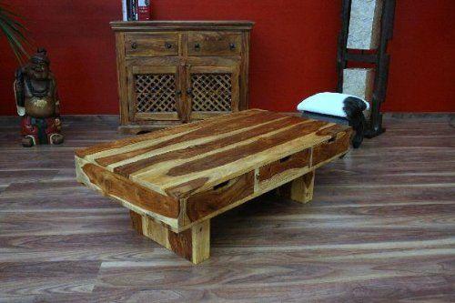 Couchtisch, 6 Schubladen, 110x60x35, Holz, Massiv, Bali, Natur - wohnzimmertisch holz massiv