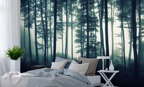 fototapete wald schlafzimmerskandinavischgrünmystisch
