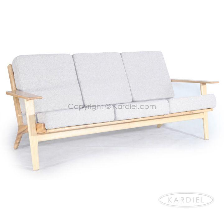 Hans J Wegner Style Plank Sofa, Khaki Twill/Natural Wood |