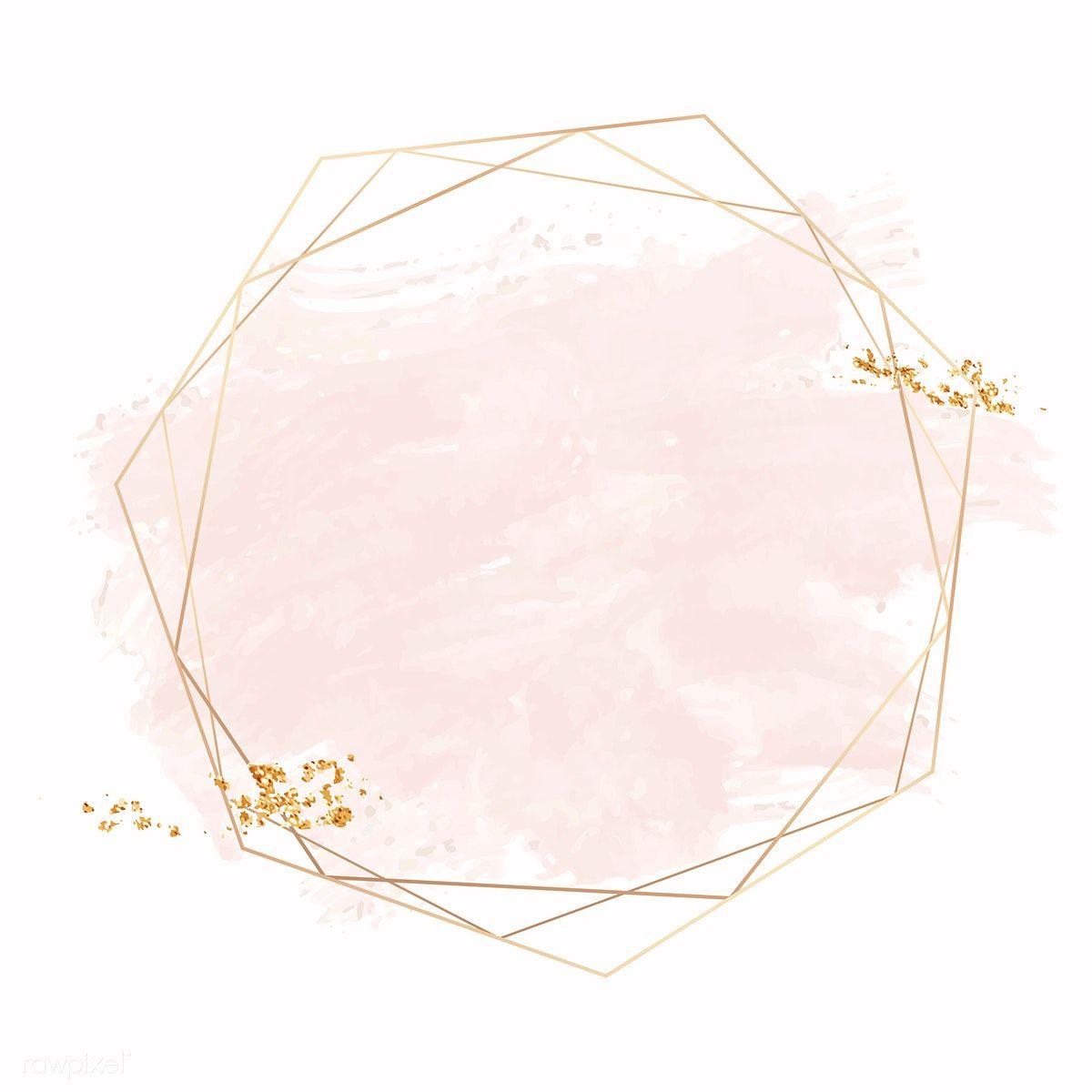 Gold Geometric Frame On A Pink Brushstroke Background