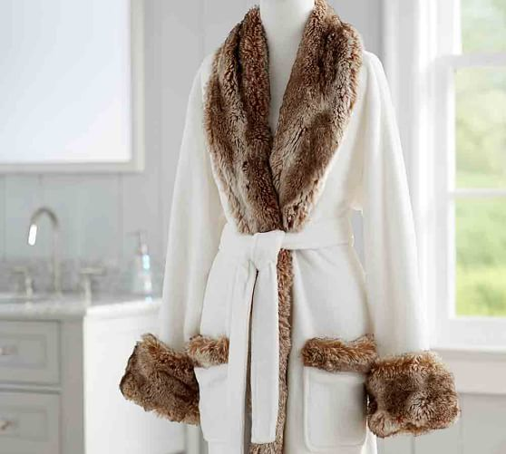 Faux Fur Robe Without Hood - Ivory Caramel  83d0914b0