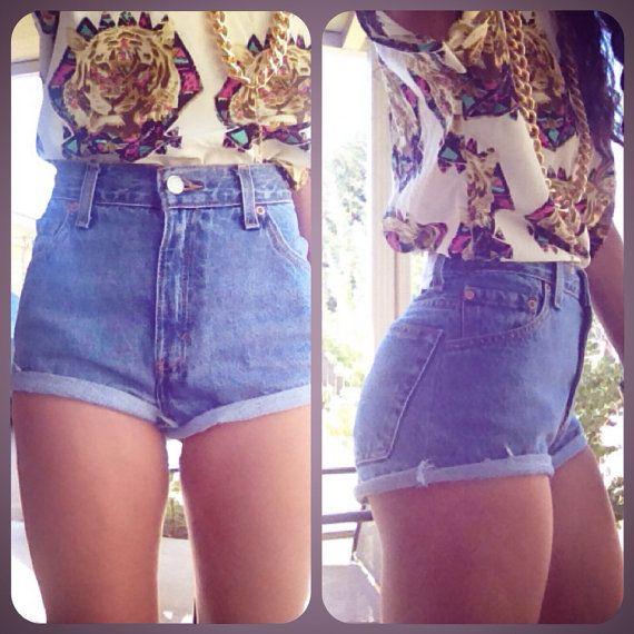 Plain Vintage denim high waist shorts cuffed or frayed on Etsy ...