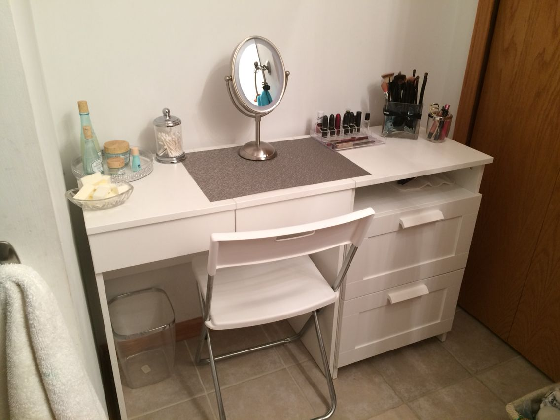 Ikea Makeup Tafel : My diy make up vanity using ikea brimne dressing table drawer