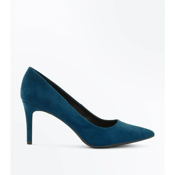 46b8f8fe97b Teal Suedette Mid Heel Pointed Court Shoes ( 18) ❤ liked on Polyvore  featuring shoes