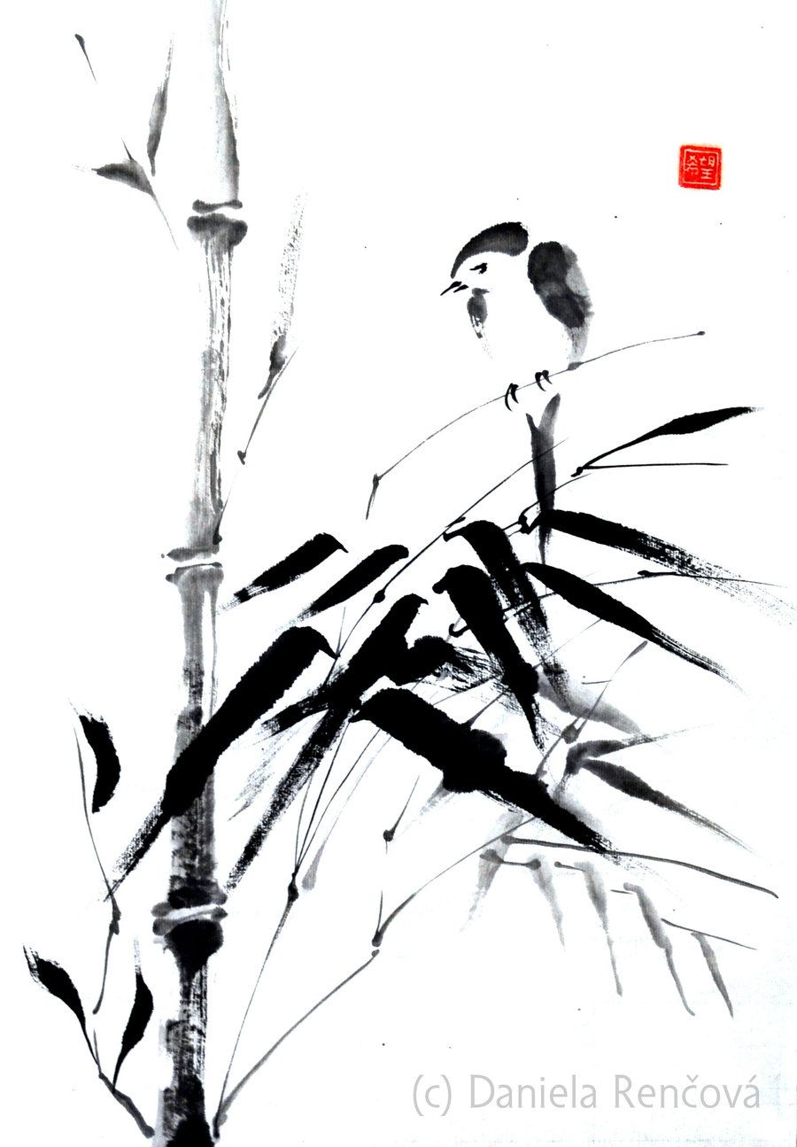 Ink Painting Sumi E Bird On Bamboo By Rencova Ink Painting