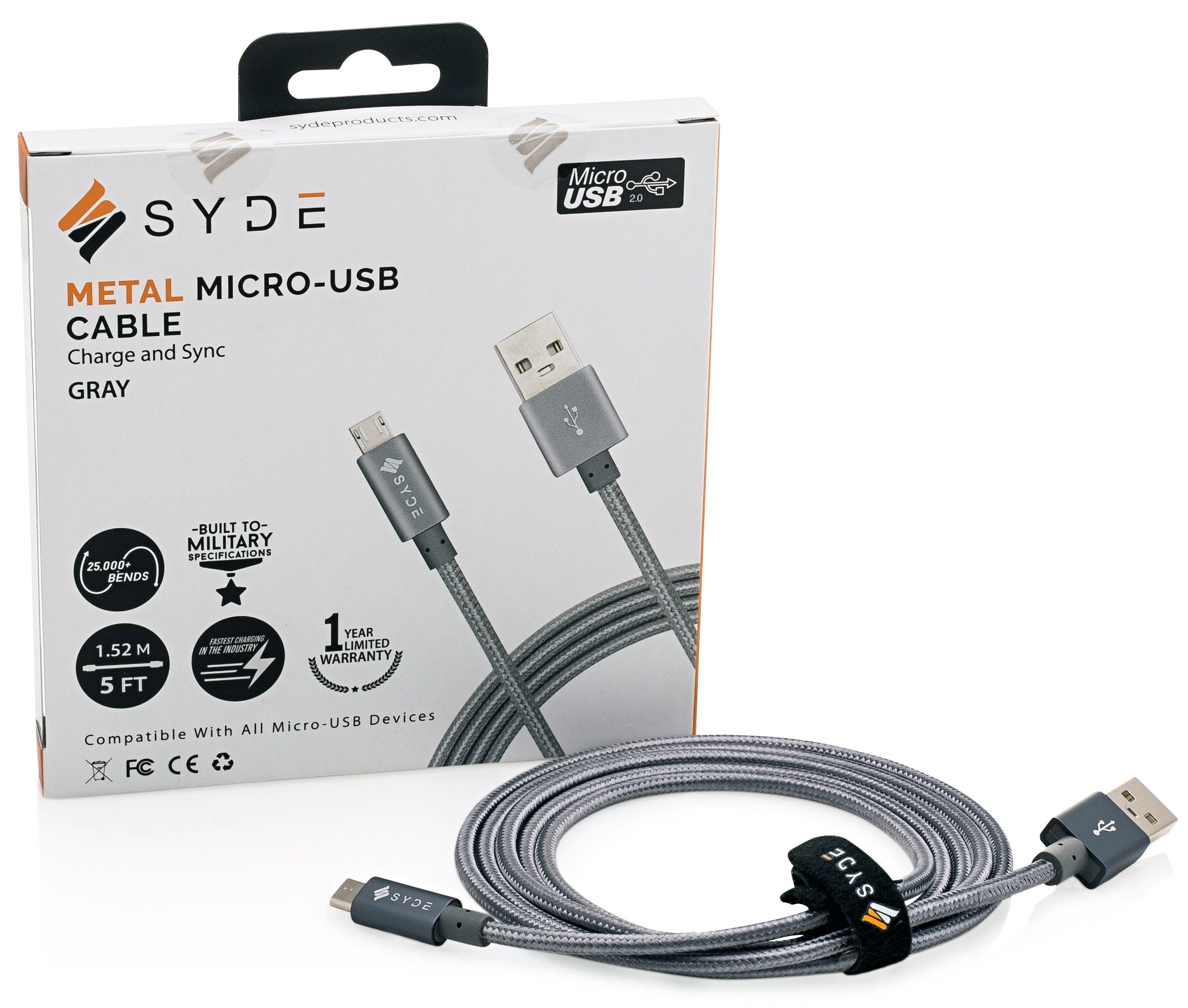 Syde Metal Braided Micro Usb Cable 20 5ft Reinforced Quick Baseus Sharp Series Type C To Hub Adapter Charge 30 Compatible Premium Military Grade Double Nylon Rapid Charger For