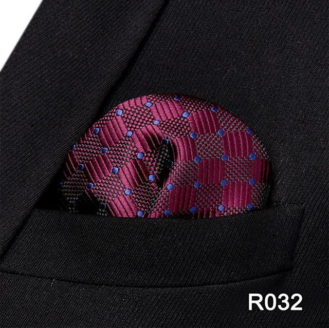 d14f0928b42bb Check Polka Dot Paisley Floral Stripe Men Silk Satin Pocket Square Hanky  Jacquard Woven Classic Wedding Party Handkerchief #RC1