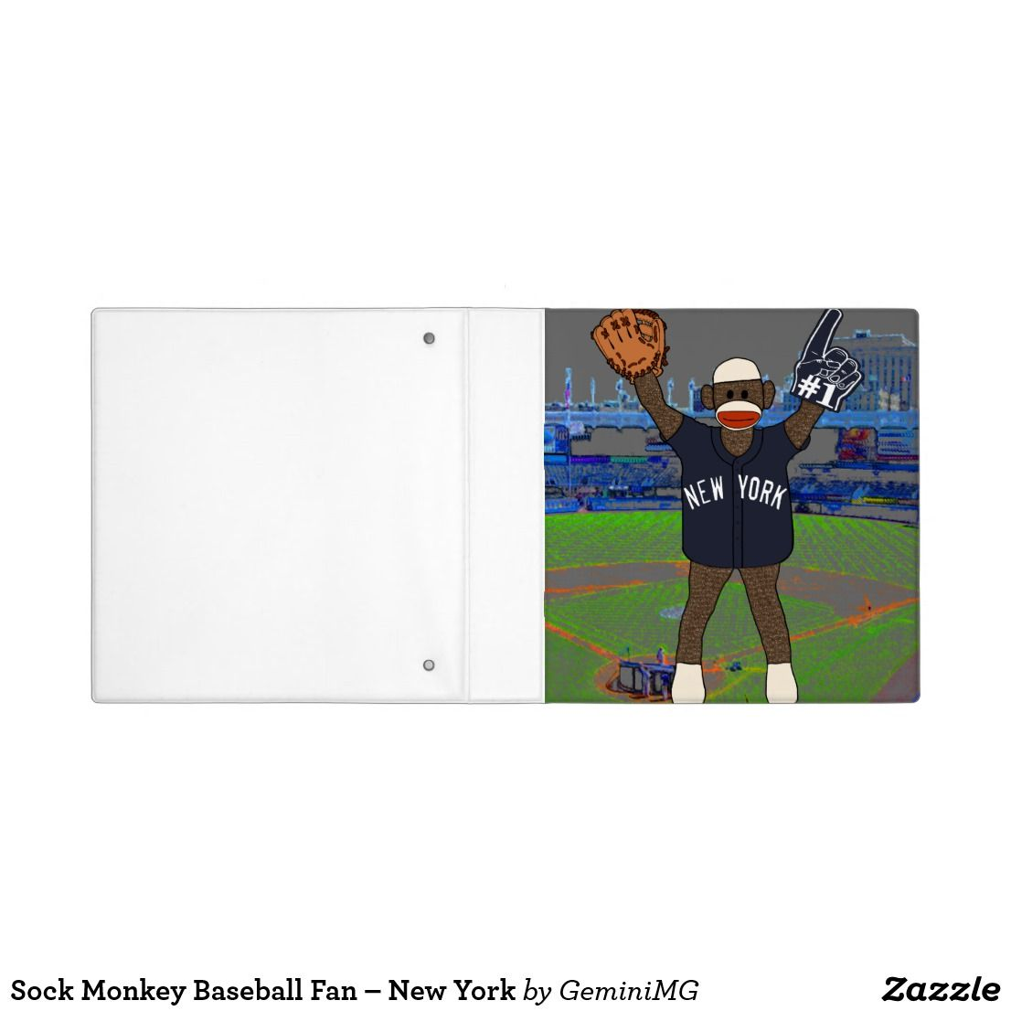 Sock Monkey Baseball Fan – New York 3 Ring Binder | Zazzle.com #sockmoneky