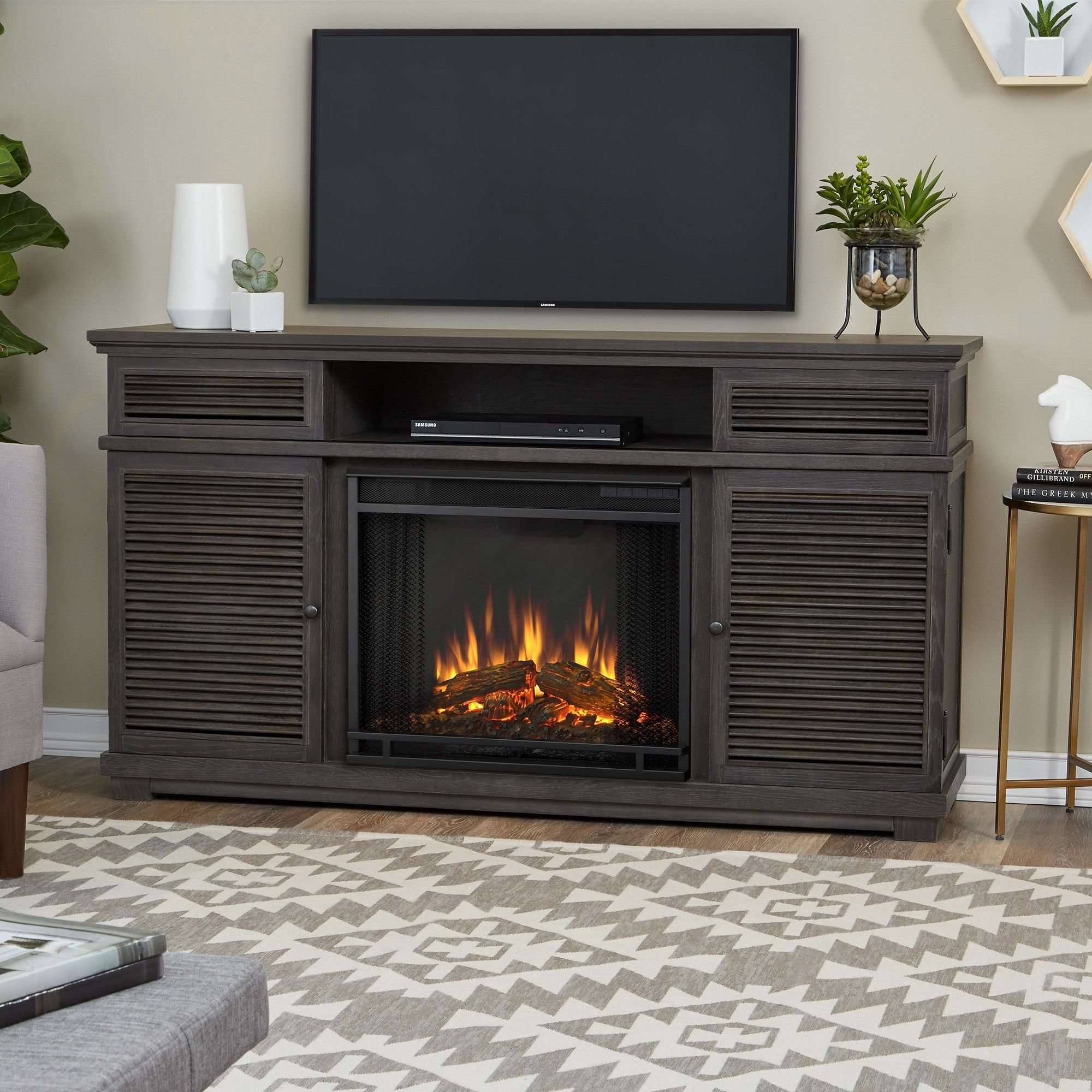 Cavallo Electric Fireplace Entertainment Center Gray Real Flame