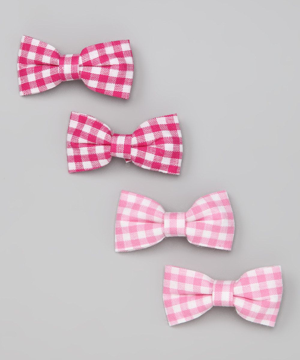 Pink Gingham Bow Set from Bows and Barrettes  on #zulily